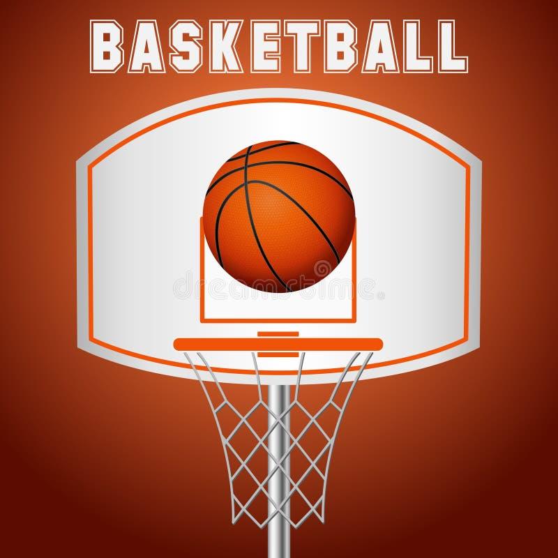 Koszykówka kosz, obręcz, piłka odizolowywająca na białym tle ilustracja wektor