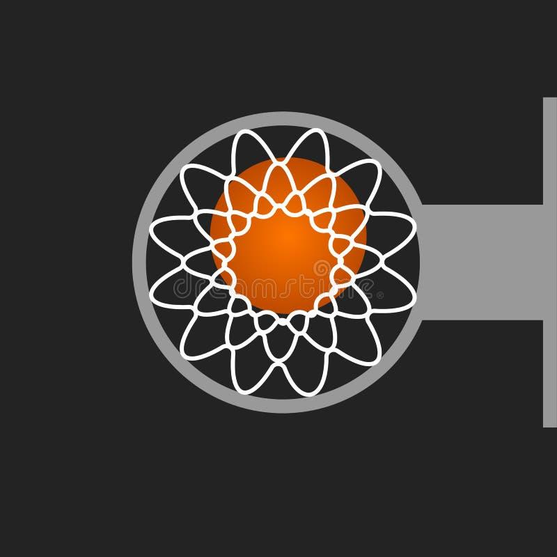 Koszykówka kosz z netto i balowym obręcza sporta dolnego widoku wektorem ilustracja wektor