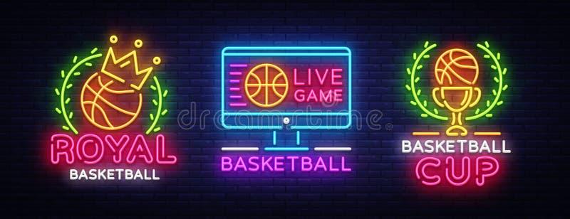 Koszykówka loga kolekci Neonowy wektor Koszykówka neonowy znak, projekta szablon, nowożytny trendu projekt, bawi się neonowego ilustracji