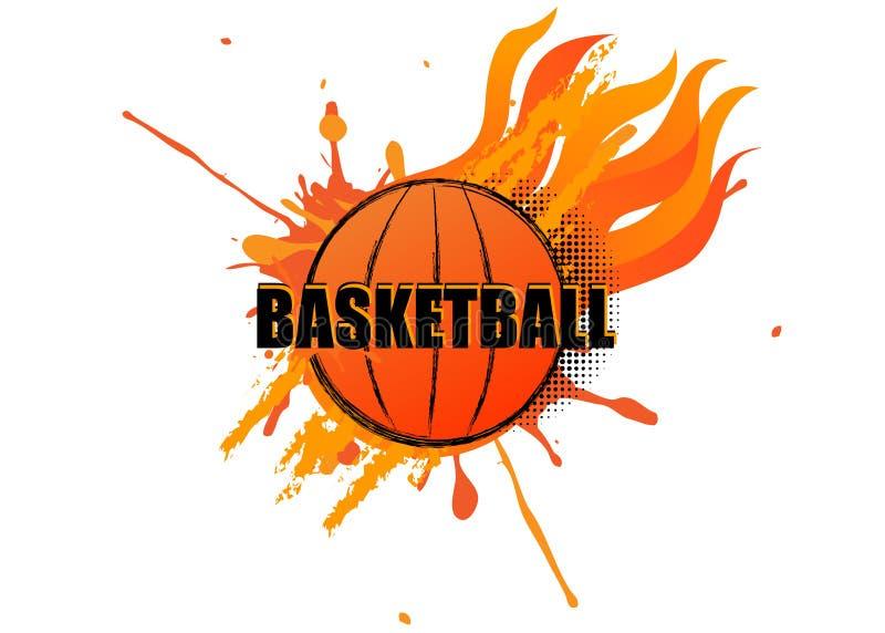 Koszykówka logo z grunge splatter i ogień na białym tle ilustracji