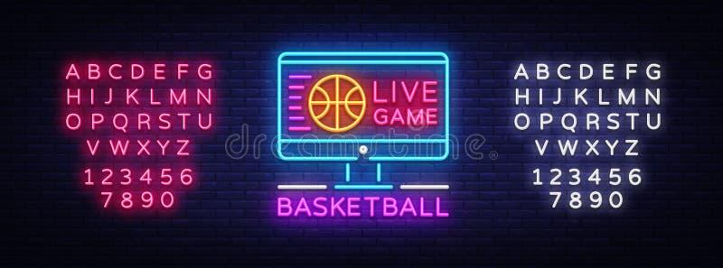 Koszykówka neonowego znaka Żywy wektor Koszykówka projekta Online szablonu neonowy znak, lekki sztandar, neonowy signboard, nowoż royalty ilustracja