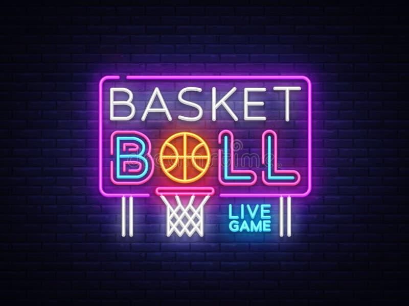 Koszykówka neonowego znaka wektor Koszykówka projekta szablonu neonowy znak, lekki sztandar, neonowy signboard, śródnocny jaskraw ilustracja wektor
