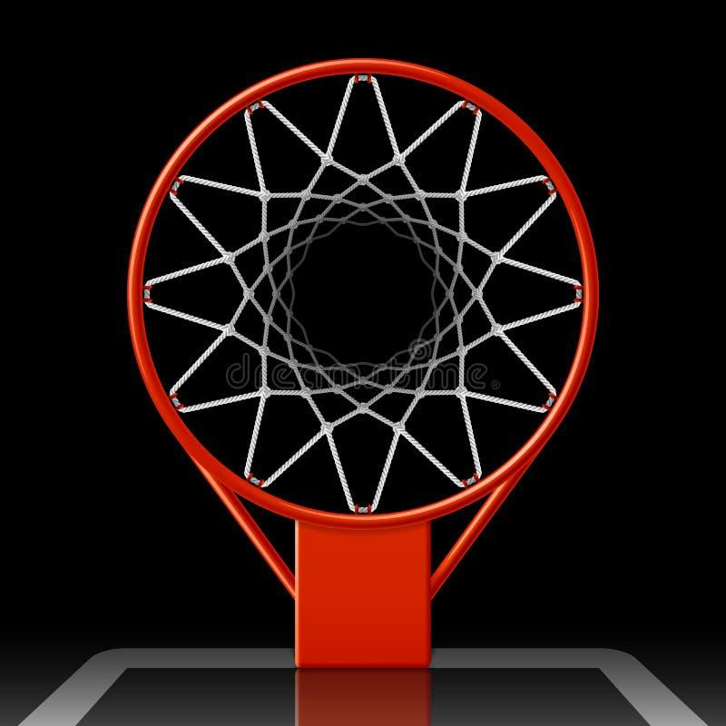 Koszykówka obręcz na czerni ilustracji