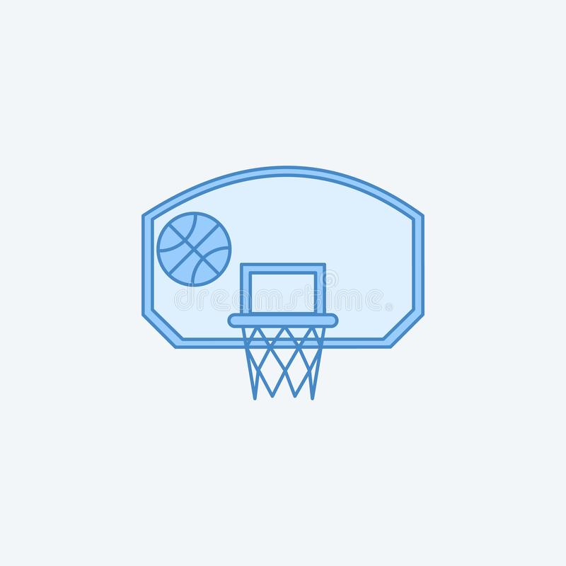 koszykówka obręcz z piłki 2 barwiącą kreskową ikoną Prosty zmrok i bława element ilustracja koszykówka obręcz z balowym pojęciem ilustracji