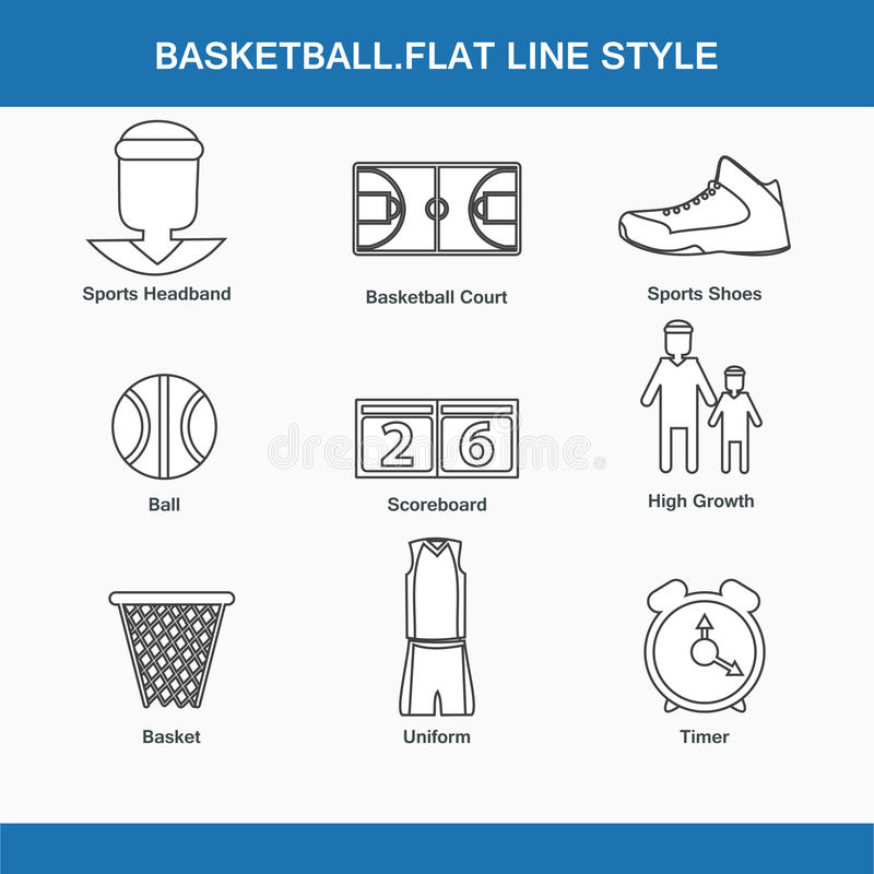 Koszykówka płaski kreskowy styl ilustracja wektor