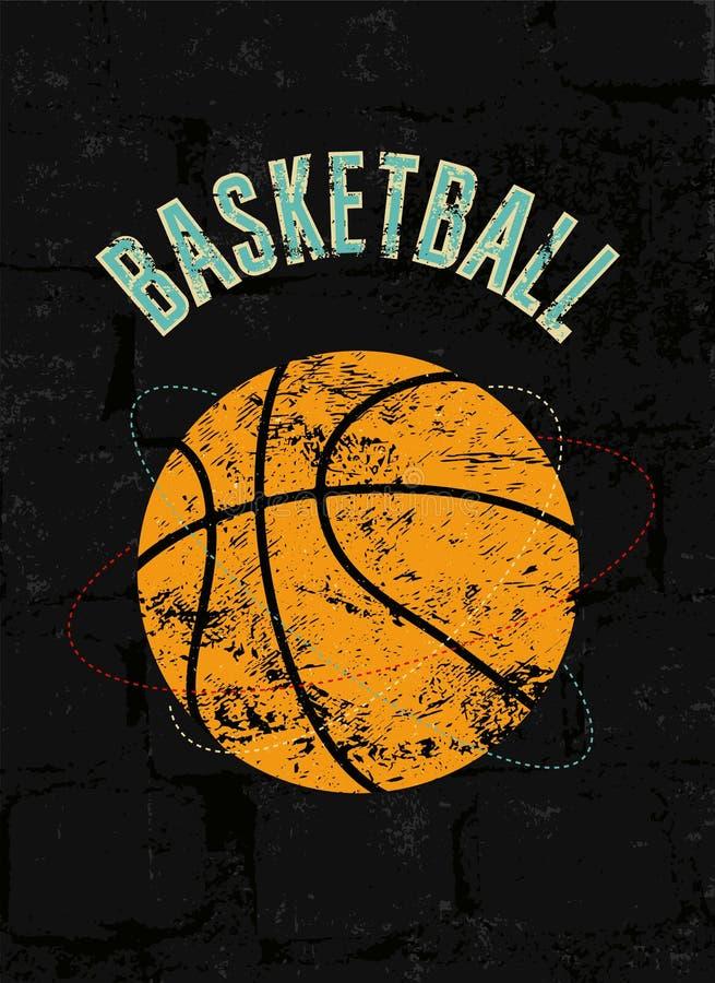 Koszykówka rocznika grunge stylu plakat retro ilustracyjny wektora ilustracja wektor