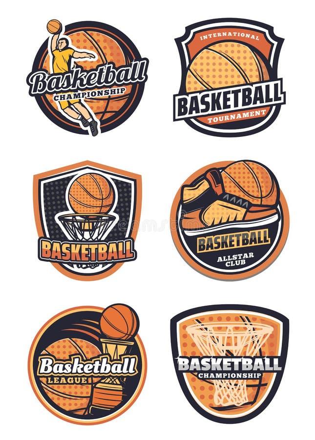 Koszykówka sporta drużyny wektoru odznaki ilustracji