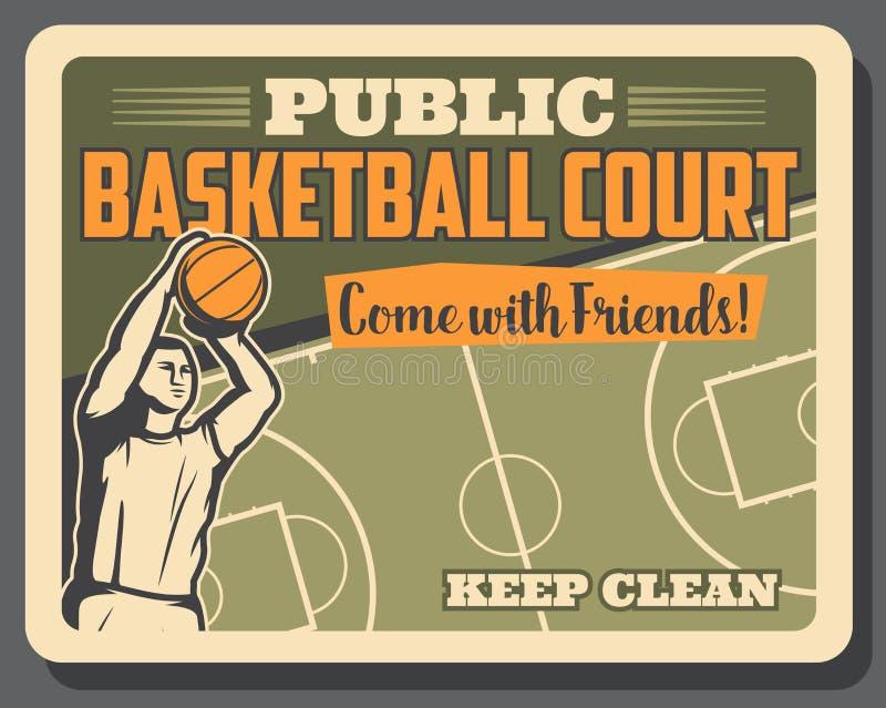 Koszykówka sporta gracz i sąd, wektorowy plakat royalty ilustracja