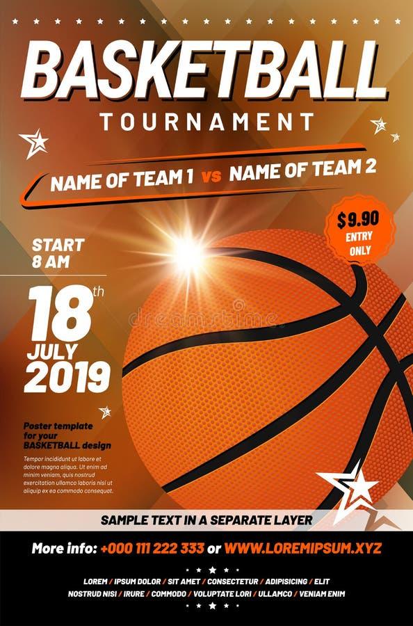 Koszykówka turnieju plakatowy szablon z próbka tekstem ilustracja wektor