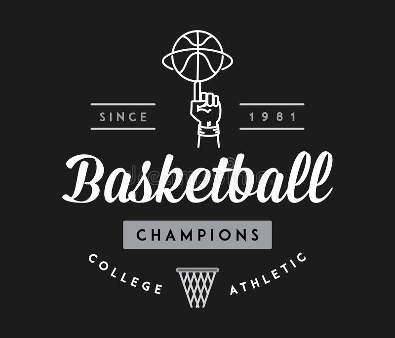 Koszykówka wstawia się biel na czerni royalty ilustracja