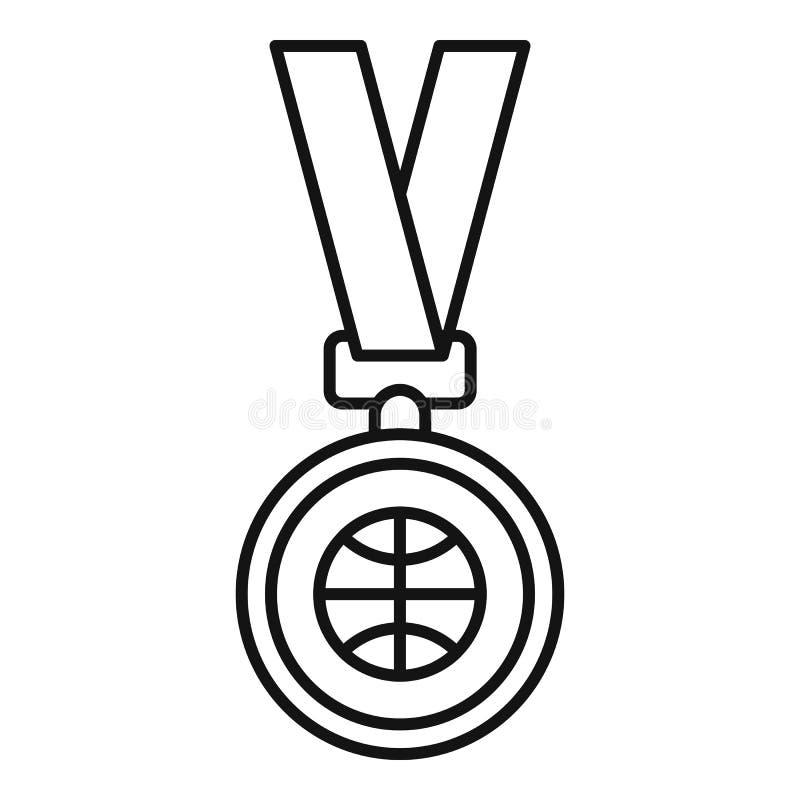 Koszykówka złotego medalu ikona, konturu styl royalty ilustracja