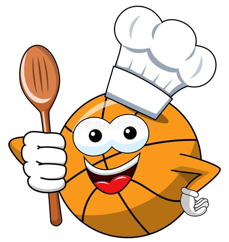 Koszykówki balowej kreskówki charakteru śmieszny kucharz odizolowywający ilustracja wektor