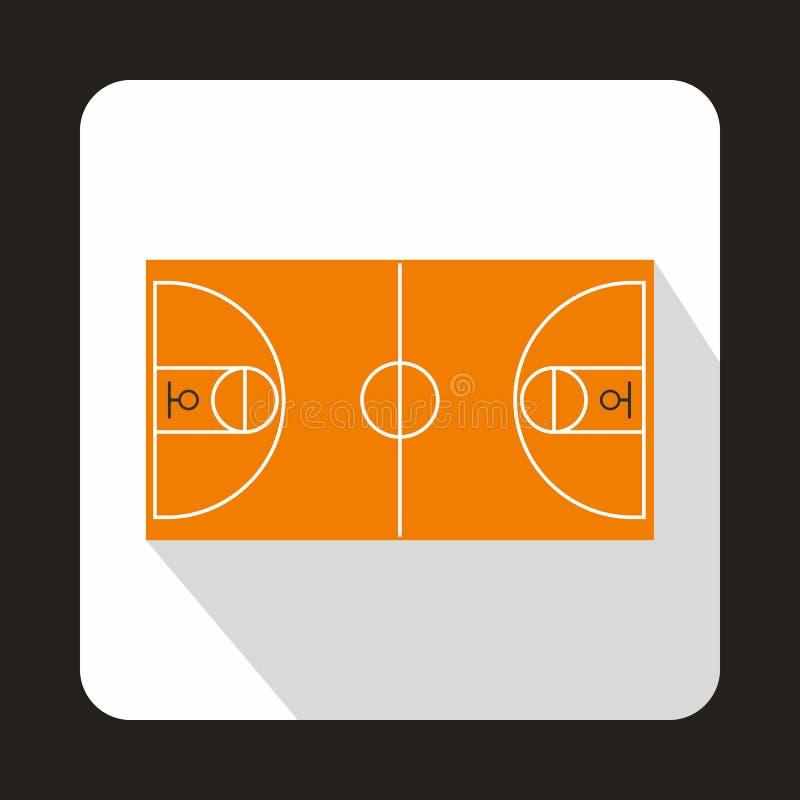 Koszykówki boiska ikona, mieszkanie styl ilustracja wektor