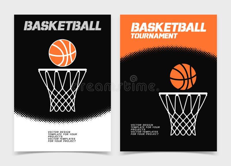 Koszykówki broszurka lub sieć sztandaru projekt z ikoną piłki i obręcza royalty ilustracja