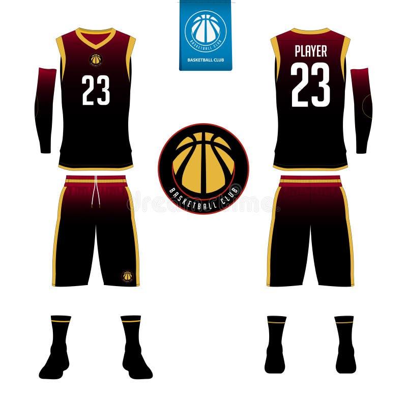 Koszykówki bydło, skróty, skarpeta szablon dla koszykówka klubu royalty ilustracja
