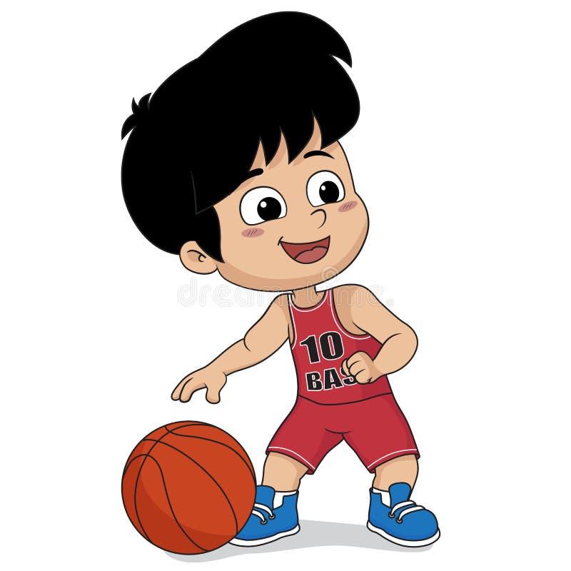 koszykówki dzieciaka bawić się Wektor i ilustracja ilustracji