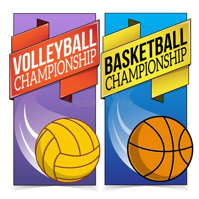 Koszykówki i siatkówki sztandary dalej ilustracji