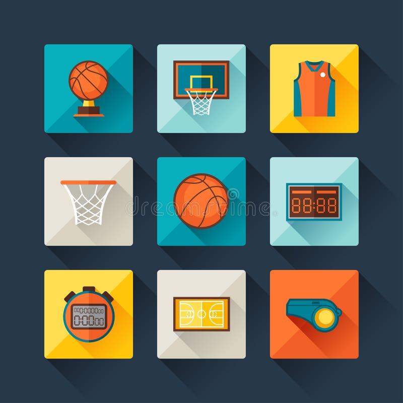 Koszykówki ikona ustawiająca w płaskim projekta stylu royalty ilustracja