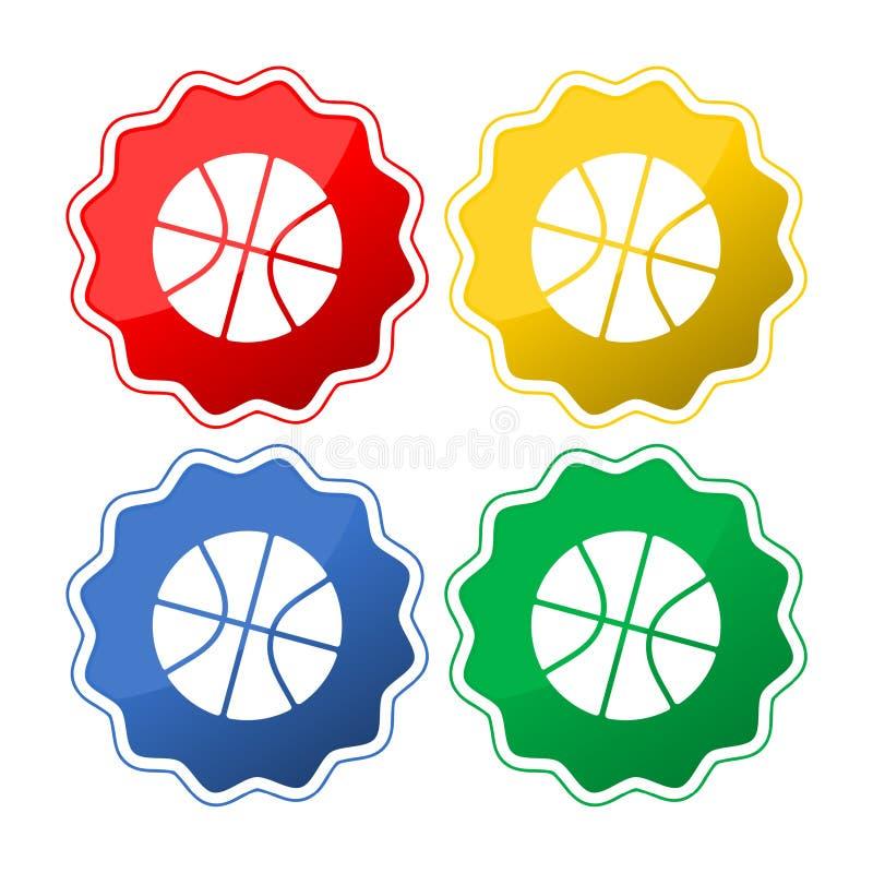 Koszykówki ikona z Cztery ikona kolorami ilustracja wektor