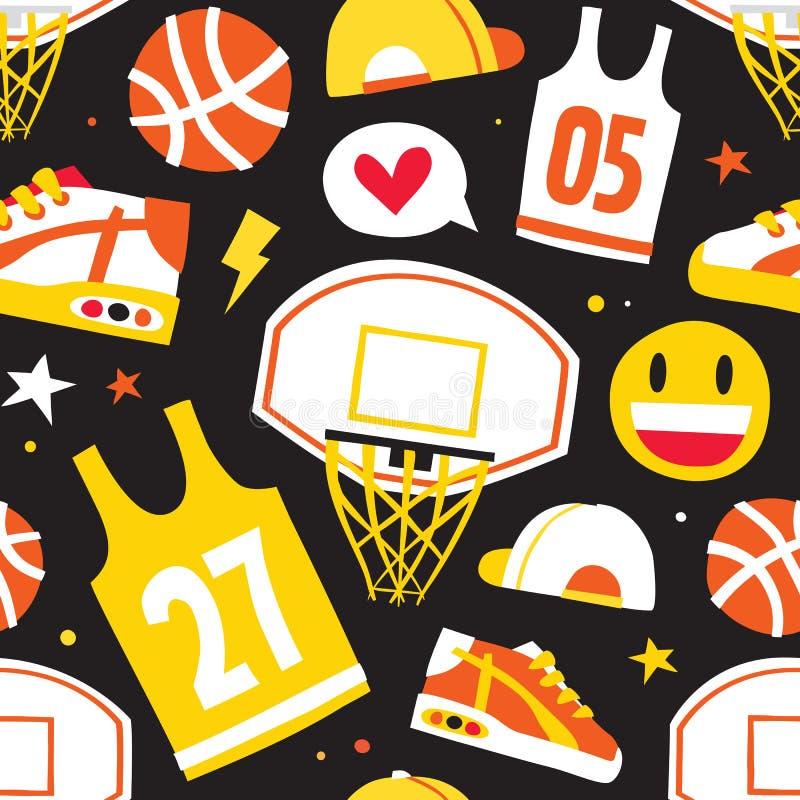 Koszykówki kreskówki przedmiotów wektoru wzoru ręka rysujący bezszwowy czerń royalty ilustracja