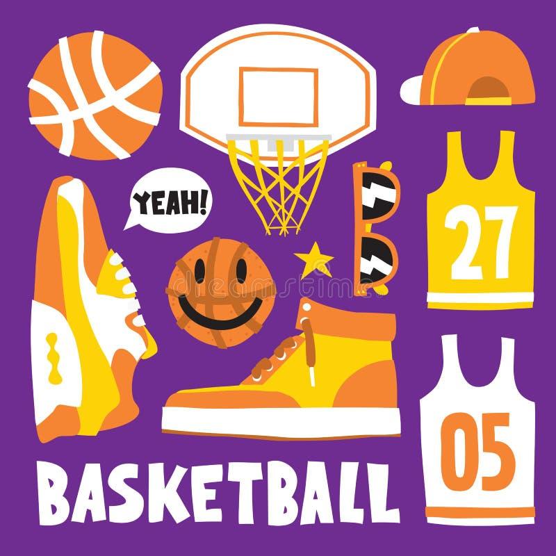 Koszykówki kreskówki przedmiotów wektoru wzoru ręka rysujący set ilustracja wektor