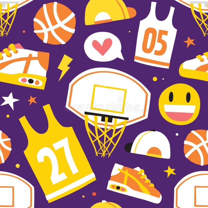 Koszykówki kreskówki przedmiotów wektoru wzoru ręki rysować bezszwowe purpury ilustracji