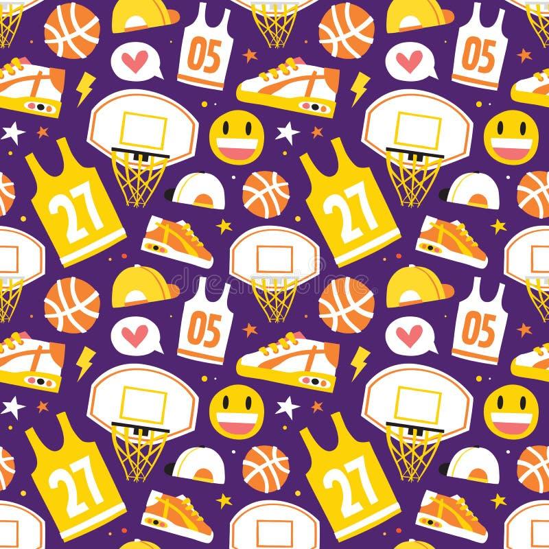 Koszykówki kreskówki przedmiotów wektoru wzoru ręki rysować bezszwowe purpury ilustracja wektor