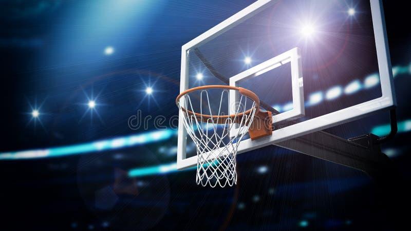 Koszykówki niebo i obręcz ilustracja wektor
