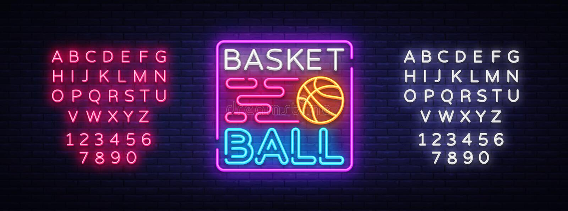 Koszykówki nocy loga Neonowy wektor Koszykówka neonowy znak, projekta szablon, nowożytny trendu projekt, bawi się neonowego signb ilustracja wektor