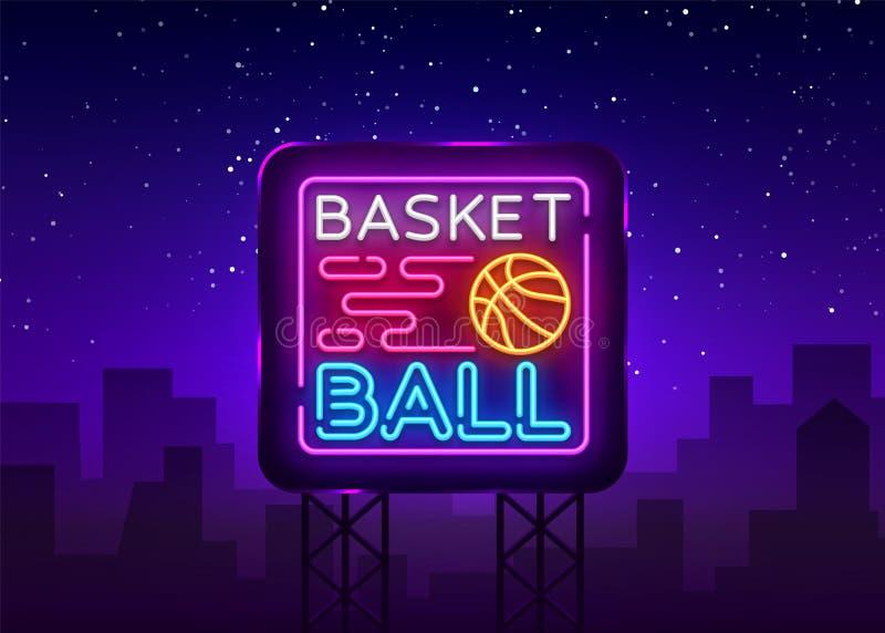 Koszykówki nocy loga Neonowy wektor Koszykówka neonowy znak, projekta szablon, nowożytny trendu projekt, bawi się neonowego signb royalty ilustracja