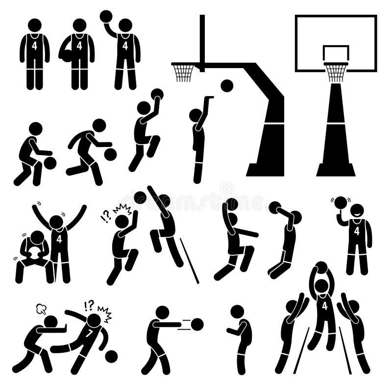 Koszykówki płatniczki akcja Pozuje Cliparts royalty ilustracja