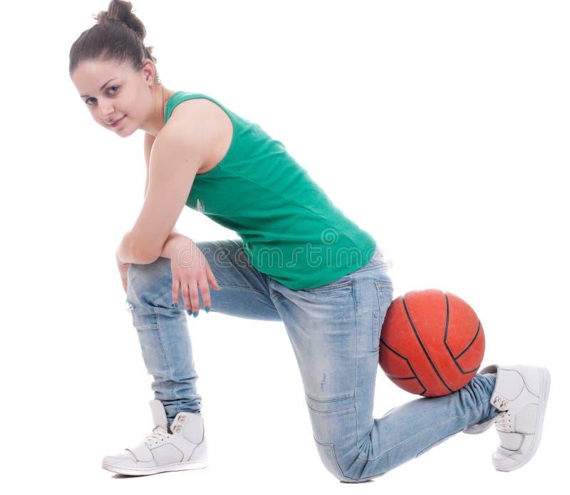 koszykówki piękni pracowniani kobiety potomstwa fotografia royalty free