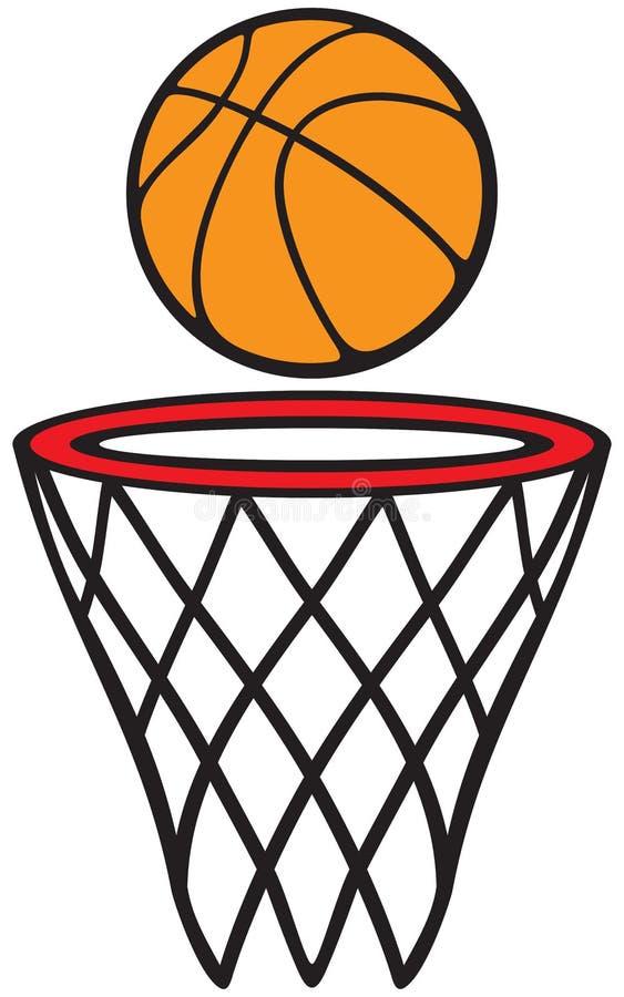 Koszykówki piłka i obręcz ilustracja wektor