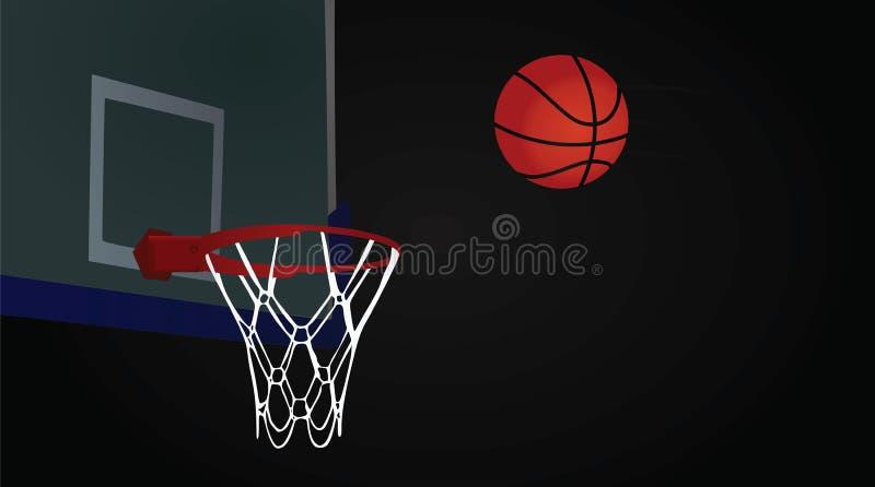Koszykówki piłka na ciemnym tle i obręcz ilustracji