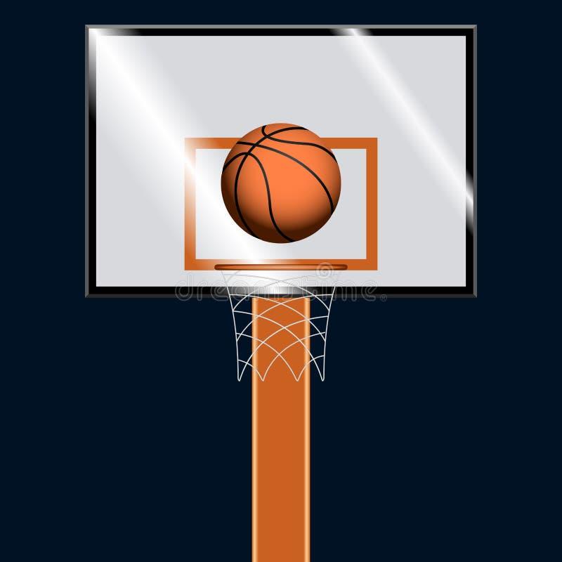 Koszykówki piłka na koszykówka obręczu ilustracja wektor