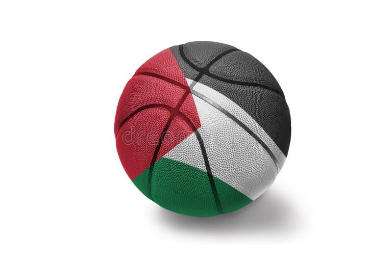 Koszykówki piłka z flagą państowową Palestine na białym tle fotografia stock