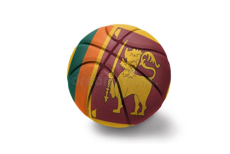 Koszykówki piłka z flagą państowową sri lanka na białym tle obraz stock