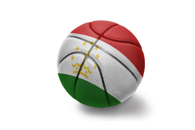 Koszykówki piłka z flagą państowową Tajikistan na białym tle fotografia stock