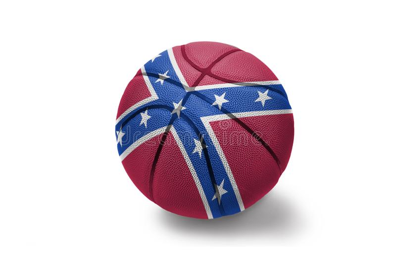 Koszykówki piłka z konfederacyjną flagą na białym tle zdjęcie royalty free