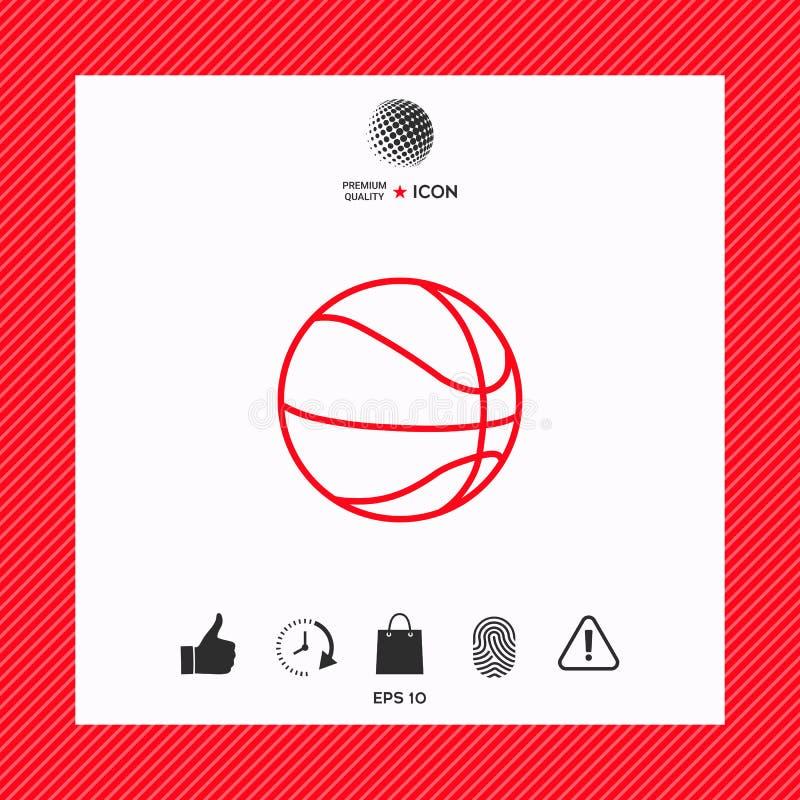 Koszykówki piłki linii ikona ilustracja wektor