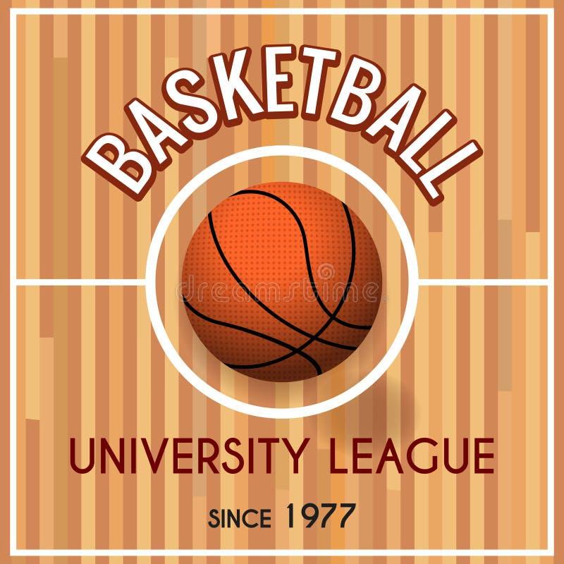 Koszykówki szkoła wyższa lub uniwersyteta liga plakat ilustracja wektor