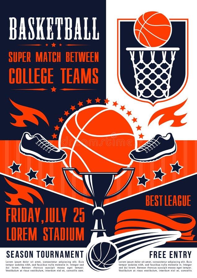 Koszykówki szkoły wyższa drużyny dopasowanie, wektorowy plakat ilustracja wektor