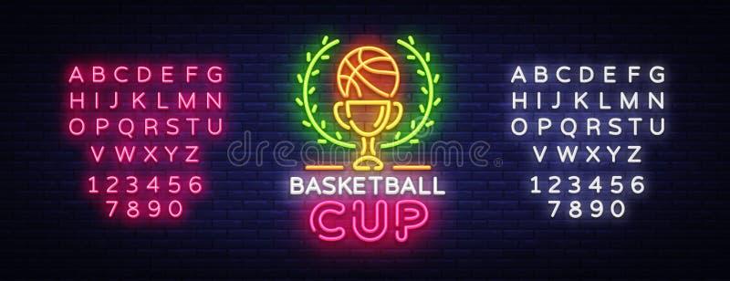 Koszykówki Tourament nocy loga Neonowy wektor Koszykówki filiżanki neonowy znak, projekta szablon, nowożytny trendu projekt, bawi ilustracja wektor