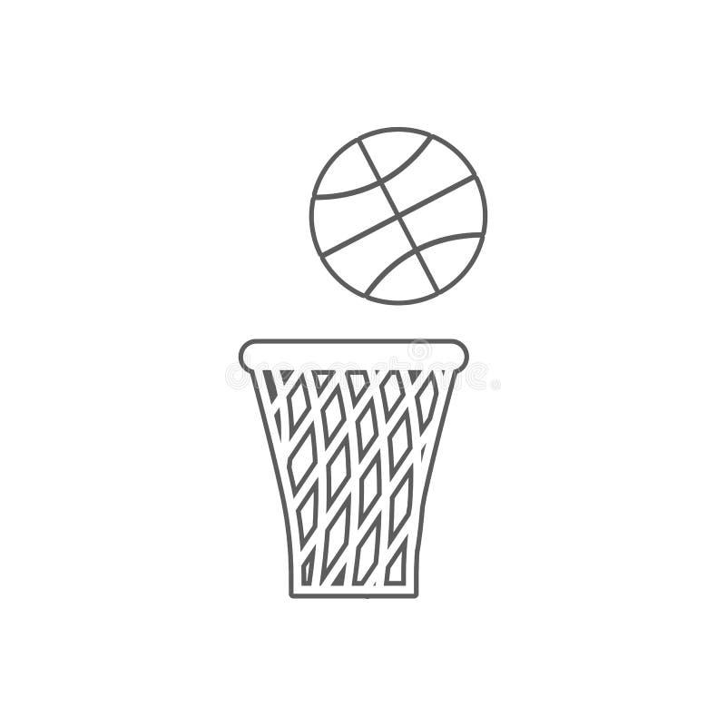 Koszyk?wki pi?ki i kosza ikona Element sport dla mobilnego poj?cia i sieci apps ikony Kontur, cienka kreskowa ikona dla strona in ilustracja wektor