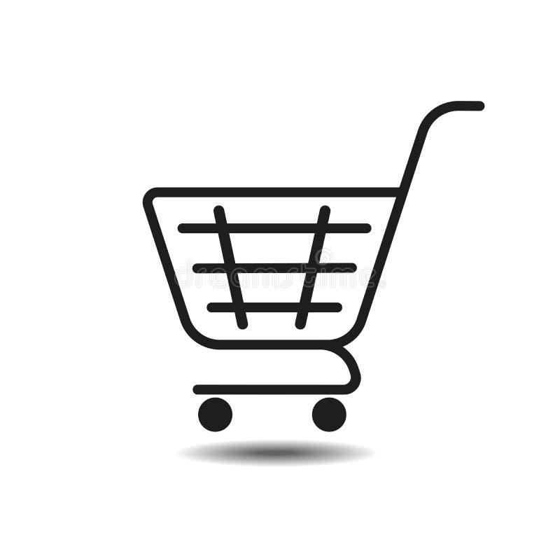 Koszykowa wektorowa ikona z cienia fow siecią Sklepu spożywczego zakupy, specjalna oferta, wektor ikony kreskowy projekt Tramwaj  ilustracja wektor