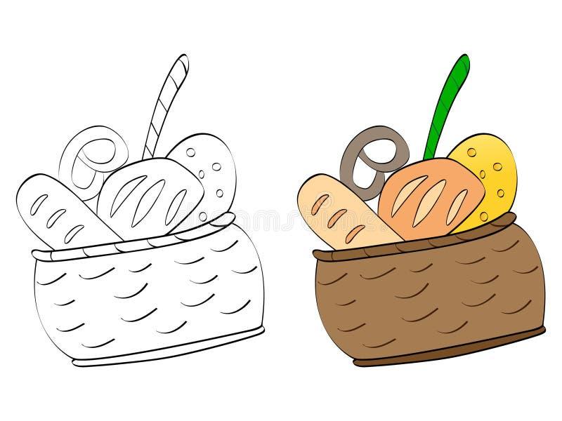 Download Koszykowi jedzenia ilustracja wektor. Obraz złożonej z piekarnia - 18859529
