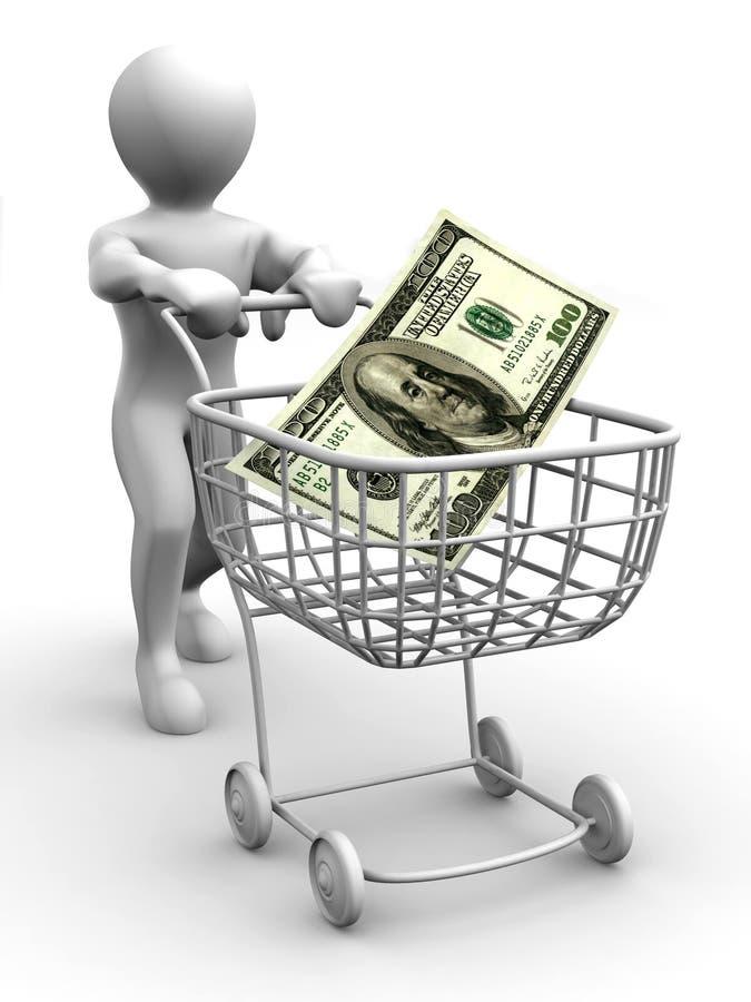 koszykowy konsumpcyjny dolarowy mężczyzna ilustracja wektor