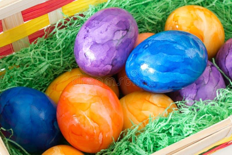 koszykowych głębokości Wielkanoc jaj skupić zielone pola jaj pomalował płytko zdjęcie stock