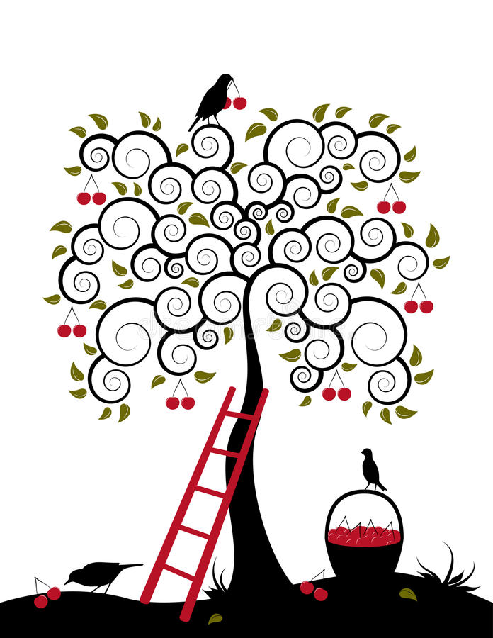 koszykowych wiśni czereśniowy drzewo ilustracji