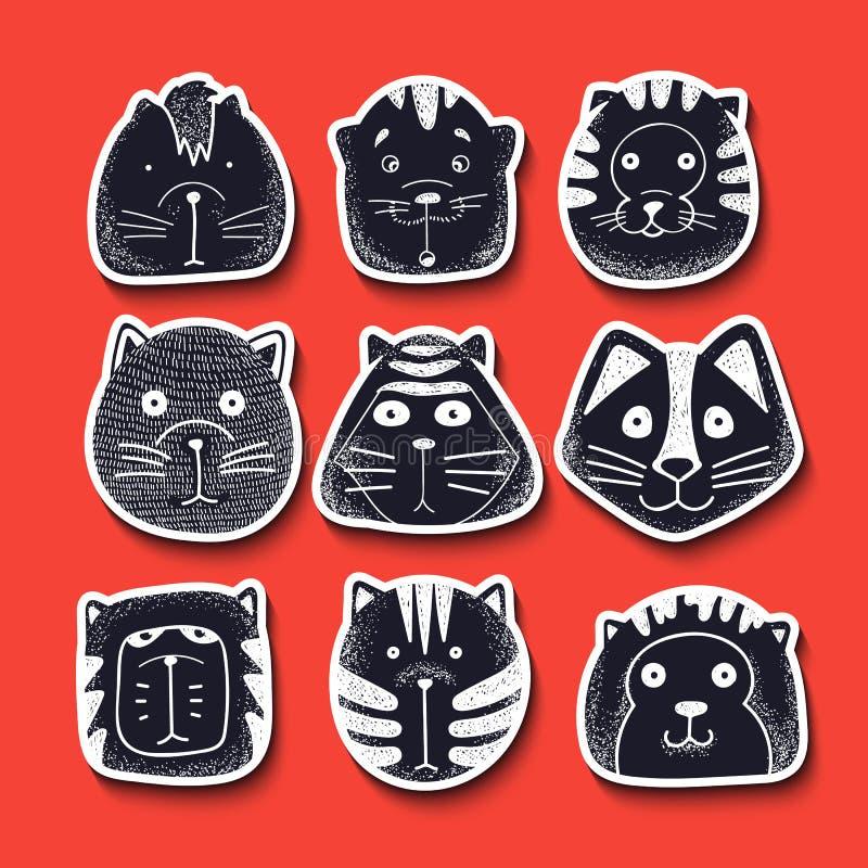 kotów śliczny doodle set Charakteru nakreślenia kot ilustracja wektor